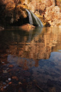 Oklahoma Landscapes Posters - Turner Falls Autumn Reflections Poster by Iris Greenwell