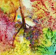 Wine Vineyard Paintings - Turning Leaves by Karen Fleschler