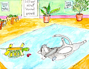 Reptiles Drawings Prints - Turning Lessons Print by Lou Belcher