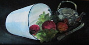 Silver Tea Pot Paintings - Turnip Time by Paula Pagliughi