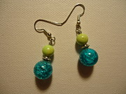 Food And Beverage Jewelry Posters - Turquoise and Apple Drop Earrings Poster by Jenna Green