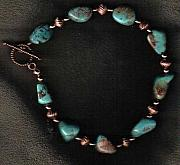 Animals Jewelry Originals - Turquoise and copper anklet by White Buffalo