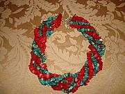 Music Jewelry - Turquoise and Coral chip necklace by Margaret R   Pujals