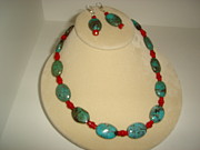 Silver Turquoise Jewelry - Turquoise and Coral by Kenalea Johnson