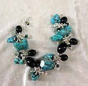 Music Jewelry - Turquoise and Onyx Charm Bracelet by Janet Carroll