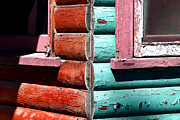 Log Cabin Art Photos - Turquoise and Red by Lon Casler Bixby
