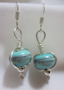 Silver Turquoise Jewelry - Turquoise and Silver Earrings by Janet  Telander