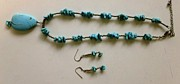 Silver Turquoise Jewelry - Turquoise and SS Necklace and Earring Set by Albright