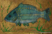 Polonia Art Paintings - Turquoise Carp by Anna Folkartanna Maciejewska-Dyba