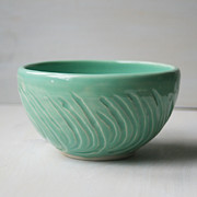 Cereal Ceramics - Turquoise Carved Bowl - Aqua by Sheila Corbitt