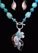 Hand Made Jewelry - Turquoise Copper and Silver Flower Pendant by Dyan  Johnson