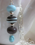 Silver Turquoise Jewelry - Turquoise Cream and Chocolate Brown Necklace by Janet  Telander