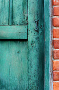 Painted Wood Prints - Turquoise Door Print by HD Connelly