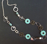 Silver Turquoise Jewelry - Turquoise Doughnuts W. Silver Rings by Joan  Jones