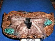 Baskets Mixed Media - Turquoise Feather Pine Needle Basket by Georgiana Barton