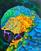 Tropical Art Tapestries - Textiles Prints - Turquoise Gold Macaw  Print by Daniel Jean-Baptiste