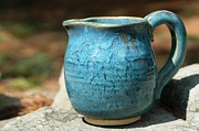 Pottery Pitcher Ceramics Posters - Turquoise Handmade Pitcher Poster by Amie Turrill Owens