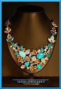 Soldered Jewelry - Turquoise Howlite and Crystal Sculptured Necklace by Janine Antulov