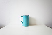 Kitchen Table Framed Prints - Turquoise Jug Framed Print by Mary Gaudin