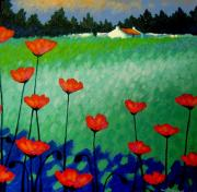Turquoise Paintings - Turquoise Meadow by John  Nolan