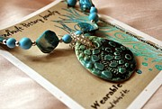 Whimsical Art Ceramics - Turquoise Oval Pottery Shell Necklace  by Amanda  Sanford