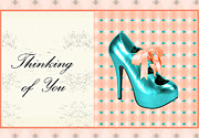 Prints Of Fashion Posters - Turquoise Shoe Thinking of You Poster by Maralaina Holliday