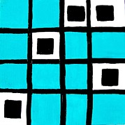 Cards Digital Art - Turquoise Squares by Marsha Heiken