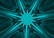 Light And Dark  Digital Art Posters - Turquoise Star Poster by Marsha Heiken