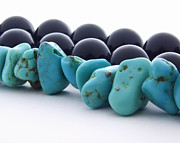 Turquoise Stones And Black Pearls Print by Blink Images