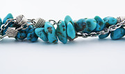 Silver Necklace Art - Turquoise stones and silver chain by Blink Images