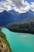 North Cascades Posters - Turquoise water of Diablo Lake in the North Cascades NP Poster by Pierre Leclerc