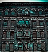 Nyc Fire Escapes Framed Prints - Turquoise windows Framed Print by James McDowell