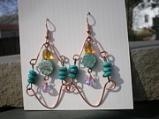 Copper Jewelry Acrylic Prints - Turquoise Wire Earrings Acrylic Print by Beth Sebring