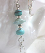 Silver Turquoise Jewelry - Turquoise Wishes Necklace by Janet  Telander