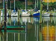 Fairhope Prints - Turquoise Workboat in the colorful Harbor Print by Michael Thomas