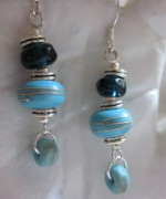 Abstract Jewelry - Turquoise Worlds Earrings by Janet  Telander