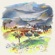 Travel Sketch Prints - Turre in Spain 03 Print by Miki De Goodaboom