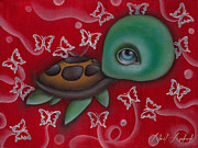 Baby Sea Turtle Paintings - Turtle by  Abril Andrade Griffith