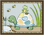 Shower Gift Posters - Turtle and Frog Poster by Cheryl Lubben