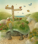 Blue Flowers Drawings - Turtle and Rabbit01 by Kestutis Kasparavicius