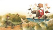 Race Drawings Originals - Turtle and Rabbit02 by Kestutis Kasparavicius