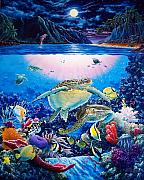 Hawaii Sea Turtle Paintings - Turtle Bay by Daniel Bergren