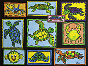 Puffer Fish Paintings - Turtle Collage by Joyce M Jacobs