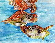 Sea Turtles Painting Metal Prints - Turtle Crossing Metal Print by Maria Barry