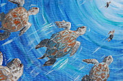 Save The Sea Turtle Paintings - Turtle Into the Light by Katheryn Napier KatNap