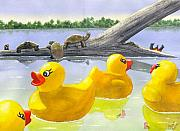 Duckie Prints - Turtle Log Print by Catherine G McElroy
