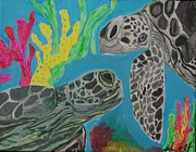 Sea Turtles Paintings - Turtle Love by Stefanie Nellett