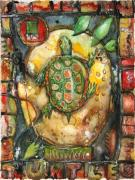 Sweat Mixed Media Prints - Turtle Print by Patricia Allingham Carlson