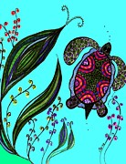 Sea Turtles Mixed Media - Turtle Swimming In Nature by Lisa Cioppettini