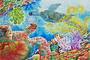 Caribbean Sea Paintings - Turtle Territory by Deborah Younglao